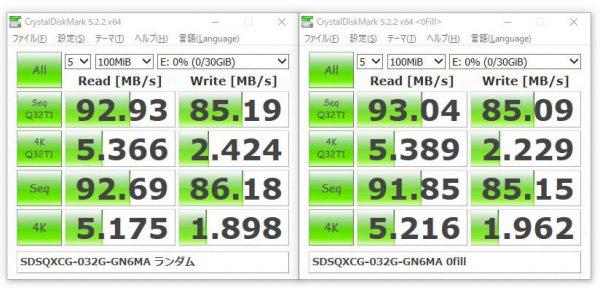 ファームウェアアップデート後のSDDR-289でSDSQXCG-032G-GN6MAのベンチ
