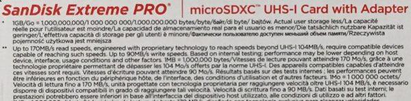 サンディスク Extreme PRO マイクロSDXC 64GB SDSQXCY-064G-GN6MA パッケージ裏面のアップ