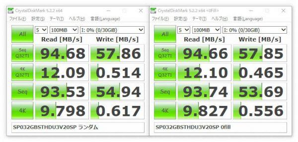 シリコンパワー Superior Pro MicroSDHC 32GB SP032GBSTHDU3V20SP ベンチマーク 100MiB