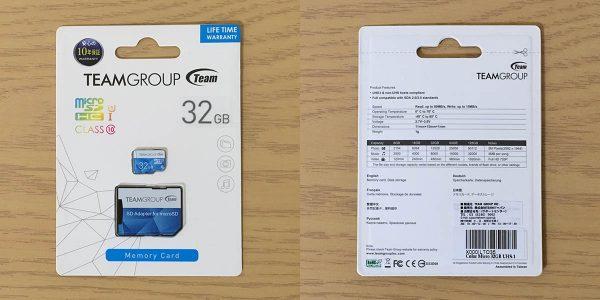 Team マイクロSDHC COLOR CARD 32GB パッケージ